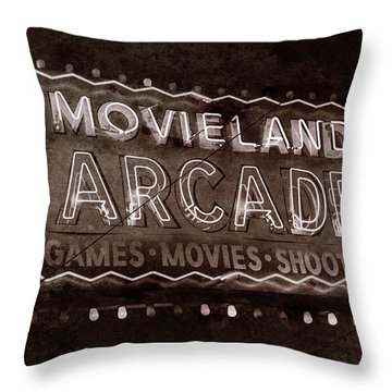 Throw Pillow featuring the photograph Movieland Arcade - Gritty by Stephen Stookey