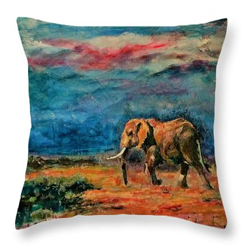 Moving Away Throw Pillow by Khalid Saeed
