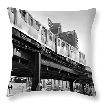 Moving Boxes Line Throw Pillow by Trish Hale