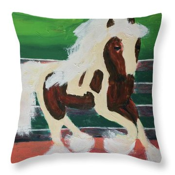 Throw Pillow featuring the painting Moving Horse by Donald J Ryker III