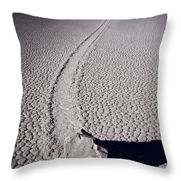 Moving Rocks Number 2  Death Valley Bw Throw Pillow by Steve Gadomski