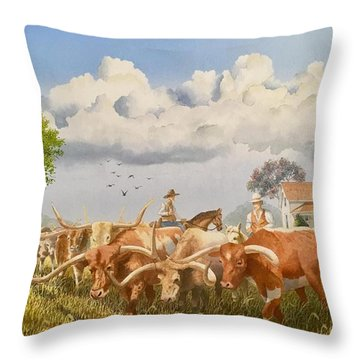 Moving The Herd Throw Pillow