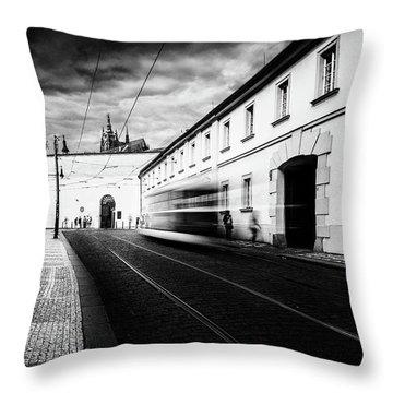 Street Tram Throw Pillow