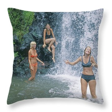 Throw Pillow featuring the photograph Mp-457 Fun At Honopu Falls Hi by Ed Cooper Photography