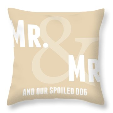 Mr And Mr And Dog- Sand Throw Pillow