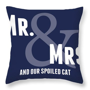 Mr And Mrs And Cat Throw Pillow