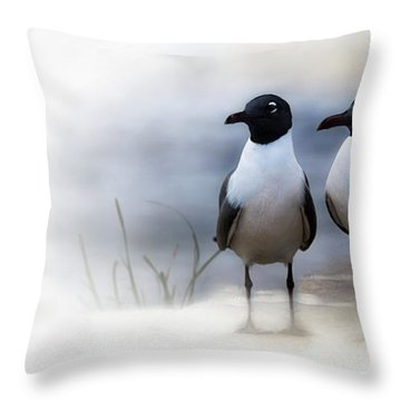 Mr And Mrs Laughing Gull Throw Pillow