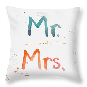 Mr And Mrs Throw Pillow by Linda Woods