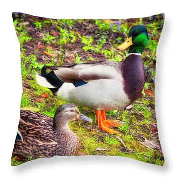 Mr And Mrs Mallard Throw Pillow