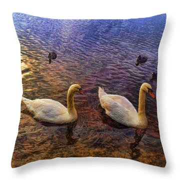Mr And Mrs Swan Go Viisiting Throw Pillow