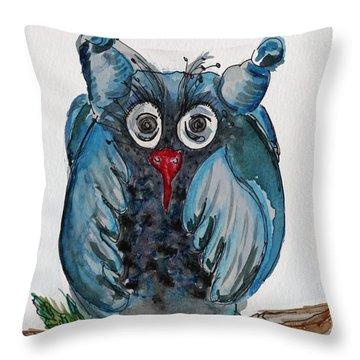 Mr. Blue Owl Throw Pillow