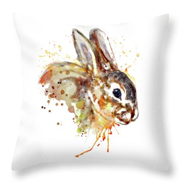 Throw Pillow featuring the mixed media Mr. Bunny by Marian Voicu