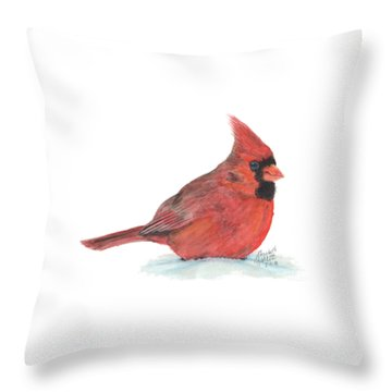 Throw Pillow featuring the painting Mr Cardinal by Betsy Hackett
