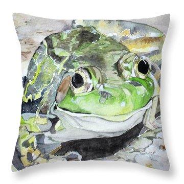 Mr Frog  Throw Pillow