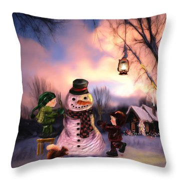 Mr. Frosty Throw Pillow