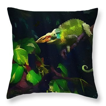 Mr. H.c. Chameleon Esquire Throw Pillow by Sharon Jones