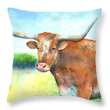 Mr. Longhorn Throw Pillow by Arline Wagner