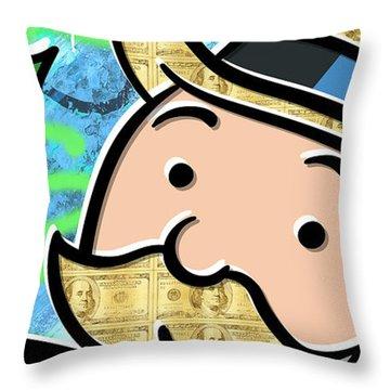 Mr Monopoly Throw Pillow