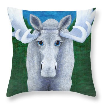 Mr. Moose Throw Pillow by Rebecca Parker
