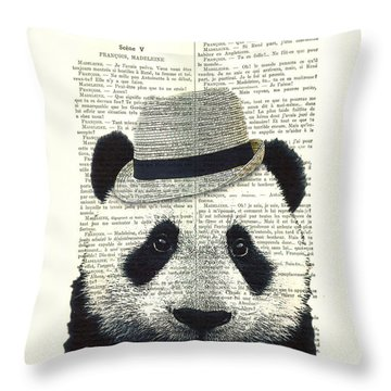 Panda With Fedora Hat En Red Rose Throw Pillow