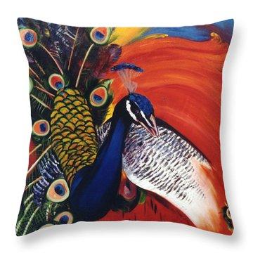 Mr Peacock Throw Pillow