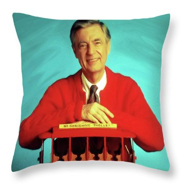Mr Rogers With Trolley Throw Pillow
