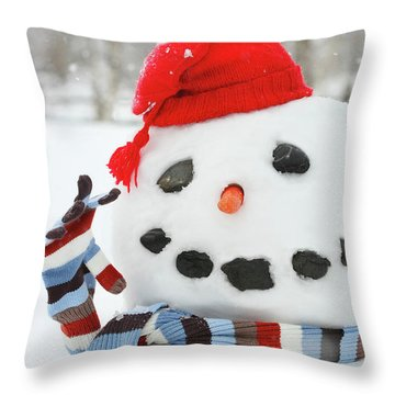 Mr. Snowman Throw Pillow by Sandra Cunningham