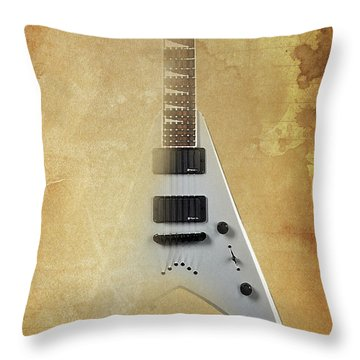 Dr House Inspirational Quote And Electric Guitar Brown Vintage Poster For Musicians And Trekkers Throw Pillow