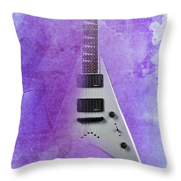 Dr House Inspirational Quote And Electric Guitar Purple Vintage Poster For Musicians And Trekkers Throw Pillow by Pablo Franchi