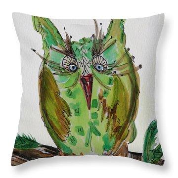 Mr.lime Owl Throw Pillow