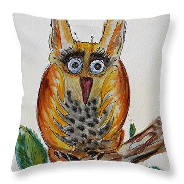 Mr.orange Owl Throw Pillow