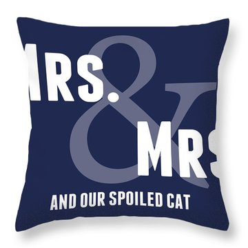 Mrs And Mrs And Cat- Blue Throw Pillow by Linda Woods