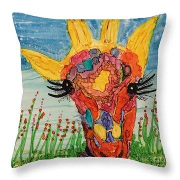 Mrs Giraffe Throw Pillow