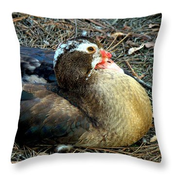 Mrs Muscovy Throw Pillow