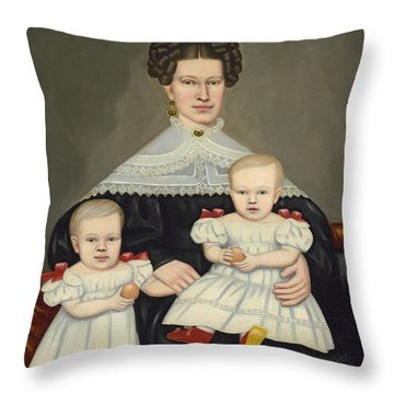 Mrs Paul Smith Palmer And Her Twins Throw Pillow
