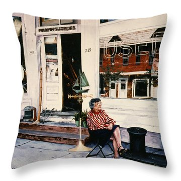 Mrs. Persteins Throw Pillow by Marguerite Chadwick-Juner