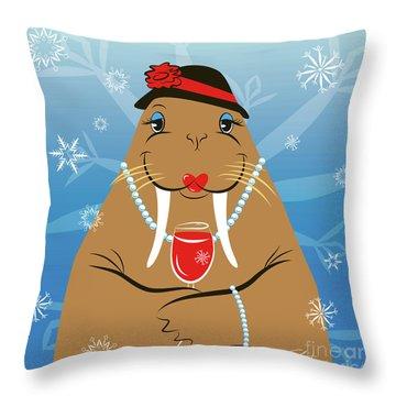 Mrs. Walrus Throw Pillow
