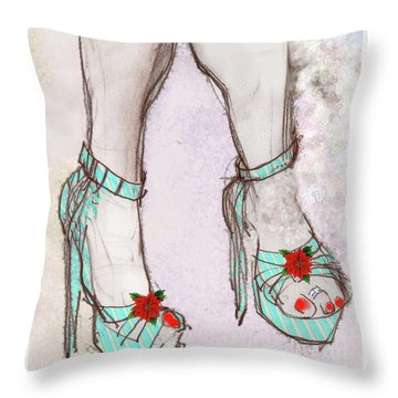 Ms Cindy's Shoes With Poinsettas Throw Pillow
