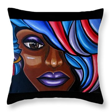 Ms. Cookie Abstract - Abstract Female Face Painting Throw Pillow