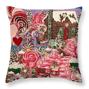 Ms. Elizabeth Peppermint World Throw Pillow by Jennifer Lake