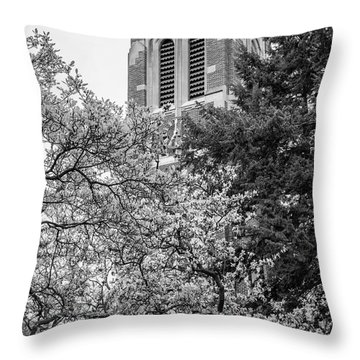 Msu Beaumont Tower Black And White 3 Throw Pillow