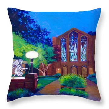 Throw Pillow featuring the painting Msu Chapel Of Memories by Jeanette Jarmon