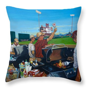 Throw Pillow featuring the painting Msu Left Field Lounge by Jeanette Jarmon