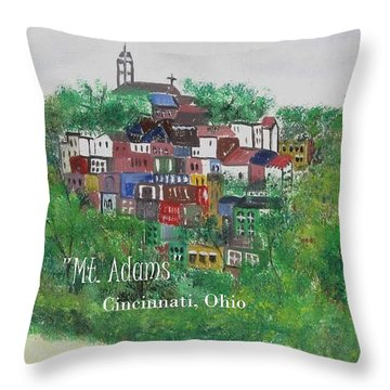 Mt Adams Cincinnati Ohio With Title Throw Pillow