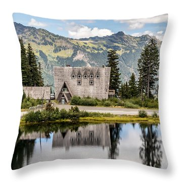 Mt Baker Lodge In Picture Lake 1 Throw Pillow