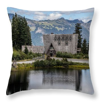 Mt Baker Lodge Reflecting In Picture Lake 3 Throw Pillow