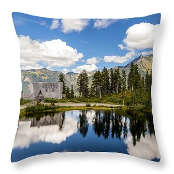 Mt Baker Lodge Reflection In Picture Lake 2 Throw Pillow