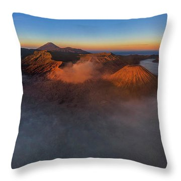 Throw Pillow featuring the photograph Mt Bromo Sunrise by Pradeep Raja Prints