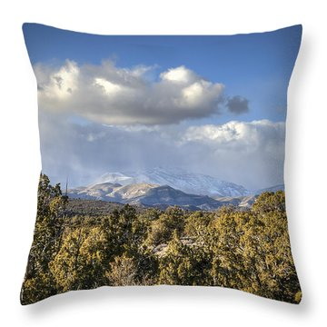 Mt Charleston Snow Storm Throw Pillow