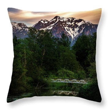 Mt Cheam Sunset At Miami Creek Throw Pillow